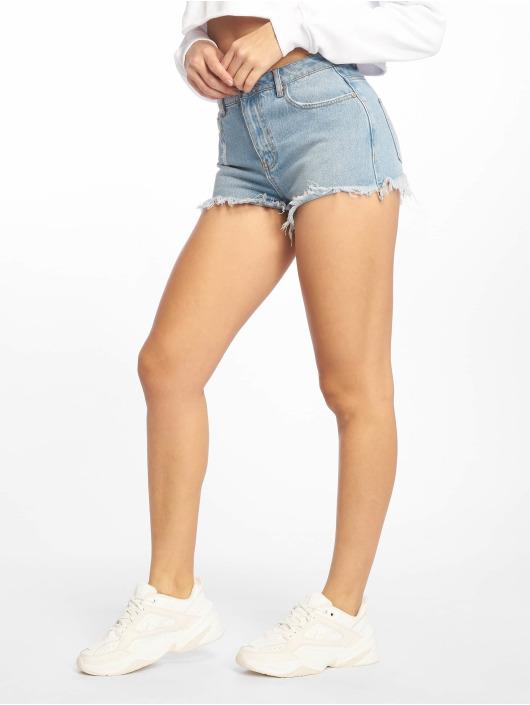 Missguided Shorts Highwaisted Extreme Fray Hem Denim blau