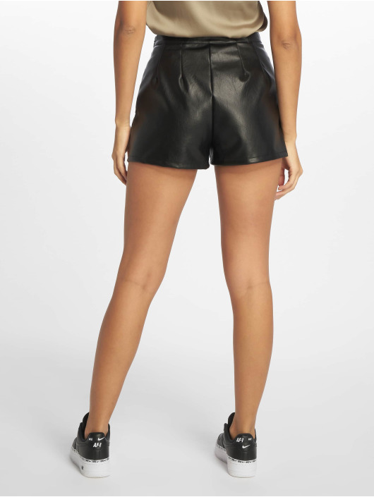Missguided Shorts Faux Leather Turn Up svart