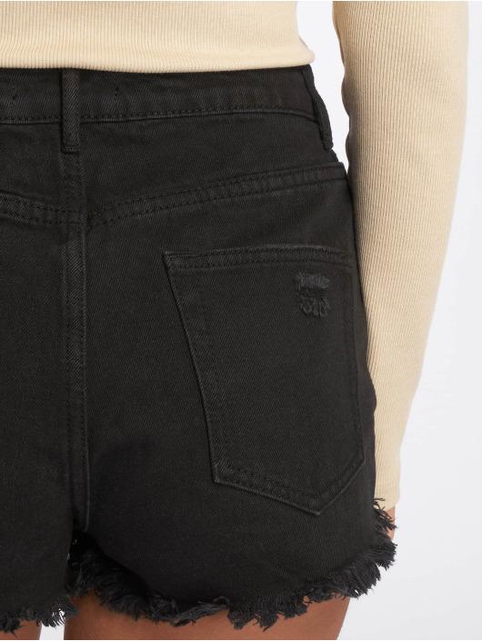 Missguided Shorts Highwaisted Extreme Fray Hem svart