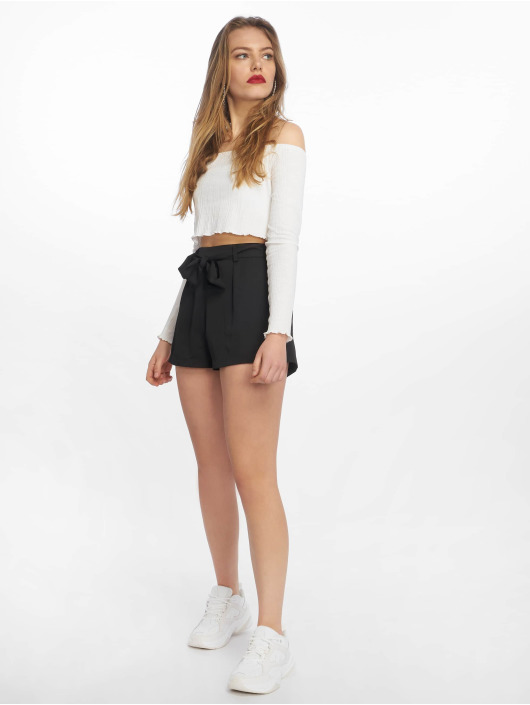 Missguided Shortsit Tie Waist Detail Crepe musta