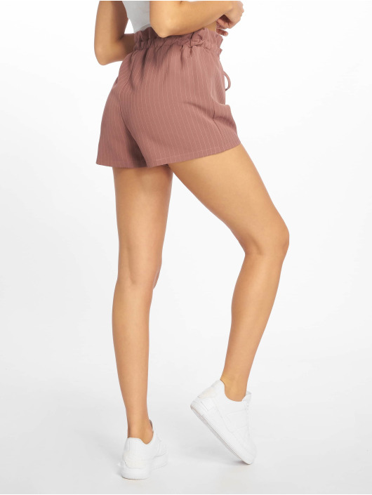 Missguided Shortsit Pinstripe Gathered Waist roosa