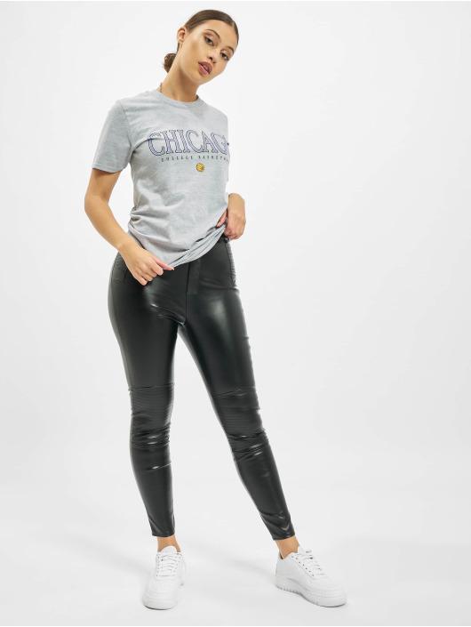Missguided Skinny Jeans Faux Leather Biker Detail čern