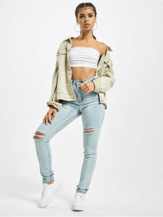 Missguided Skinny Jeans Sinner Multi Distress blue