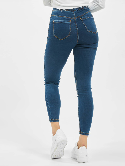 Missguided Skinny Jeans Petite Vice High Waisted modrý