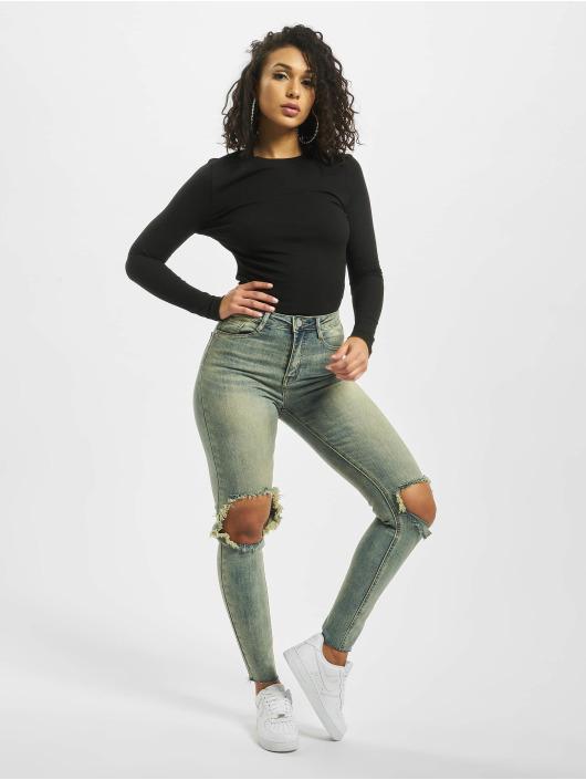 Missguided Skinny Jeans Sinner High Knee niebieski