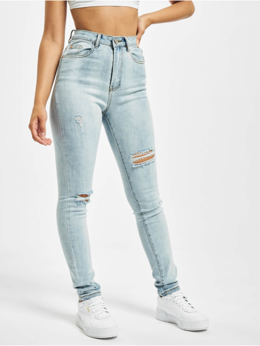 Missguided Skinny Jeans Sinner Multi Distress niebieski
