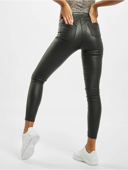 Missguided Skinny Jeans Vice High Waisted Coated schwarz