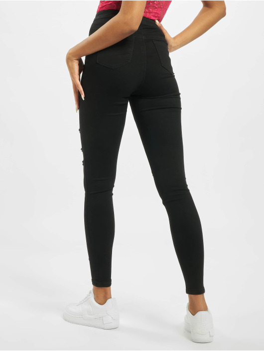 Missguided Skinny Jeans Tall Vice Rip High Waisted schwarz
