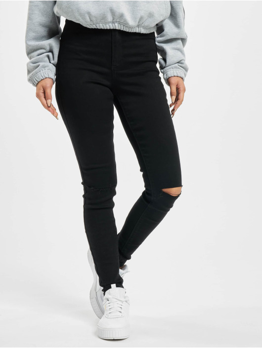 Missguided Skinny Jeans Vice Highwaisted Slash Knee schwarz