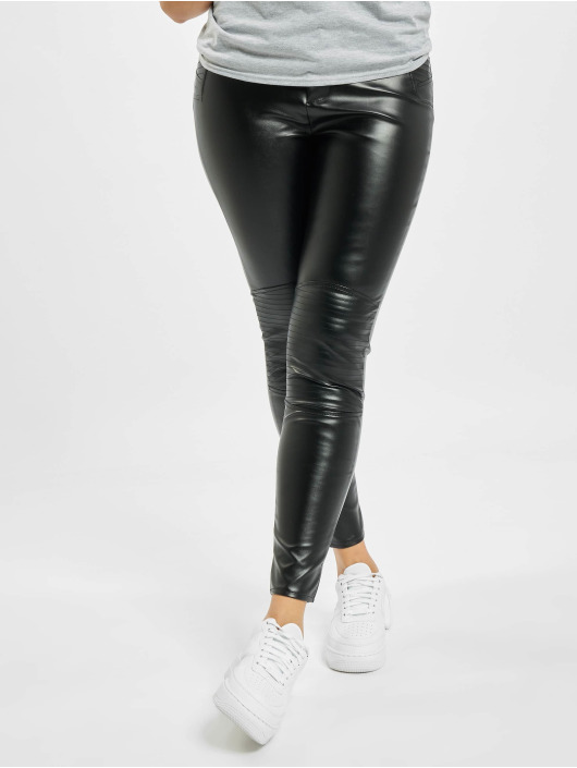 Missguided Skinny Jeans Faux Leather Biker Detail schwarz