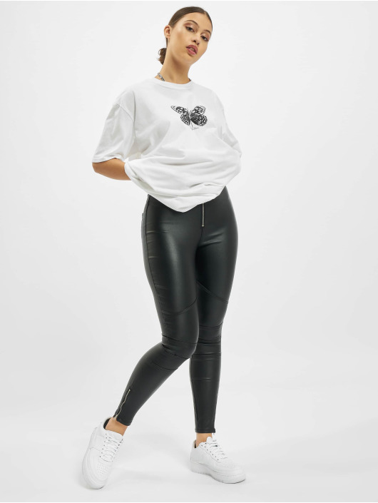 Missguided Skinny jeans Vice Double Popper Coated Biker zwart