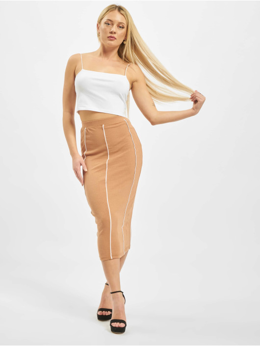 Missguided Skirt Contrast Seam Midi Coord beige