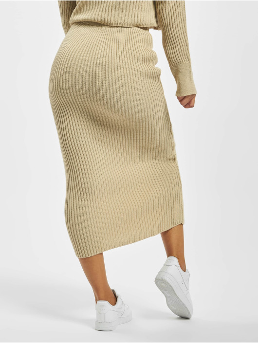 Missguided Skirt Knitted Midaxi Co Ord beige