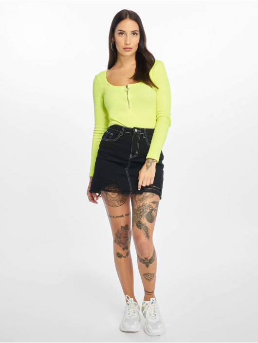 Missguided Skirt Contrast Stitch Ripped black