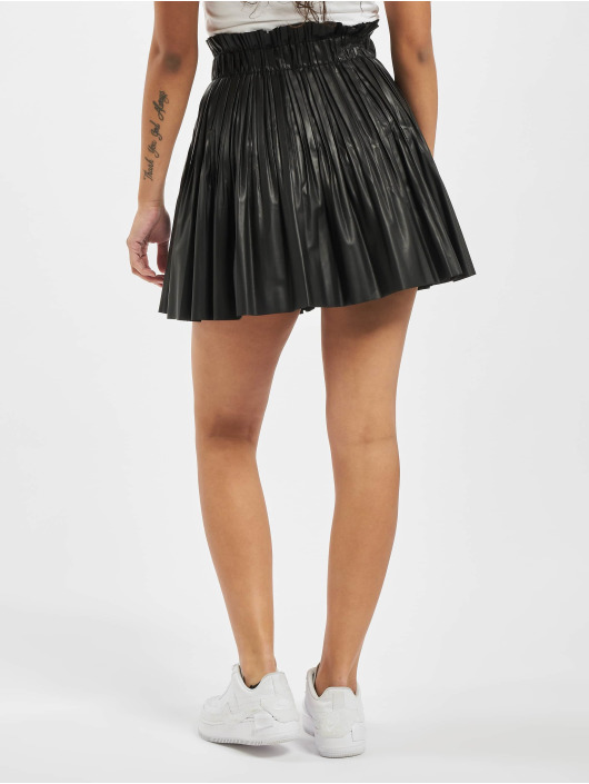 Missguided Skirt Pu Pleated Elasticated Waist Mini black