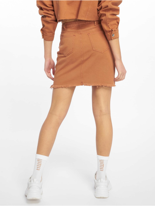 Missguided Skirt Exposed Button Step Hem Denim Mini brown