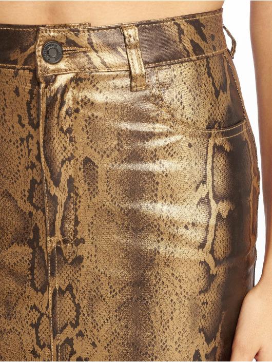 Missguided Skirt Metallic Snake Coated Denim gold