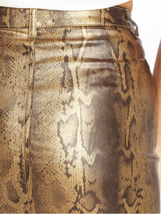 Missguided Skirt Metallic Snake Coated Denim gold colored