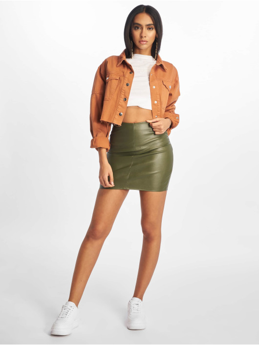 Missguided Skjørt Faux Leather oliven