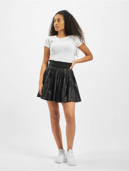 Missguided Skjørt Pu Pleated Elasticated Waist Mini svart