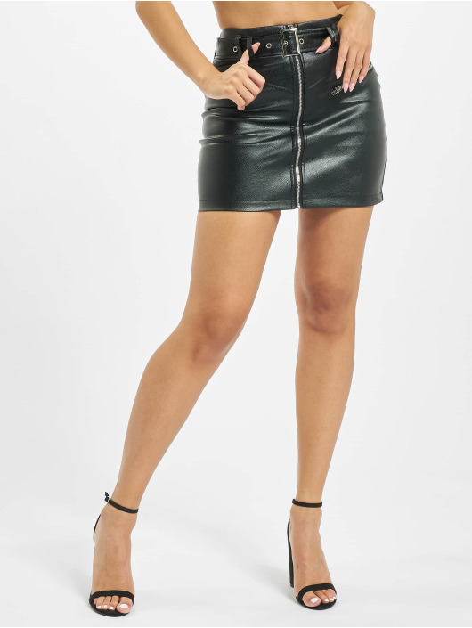 Missguided Skjørt Faux Leather Buckle Detail svart