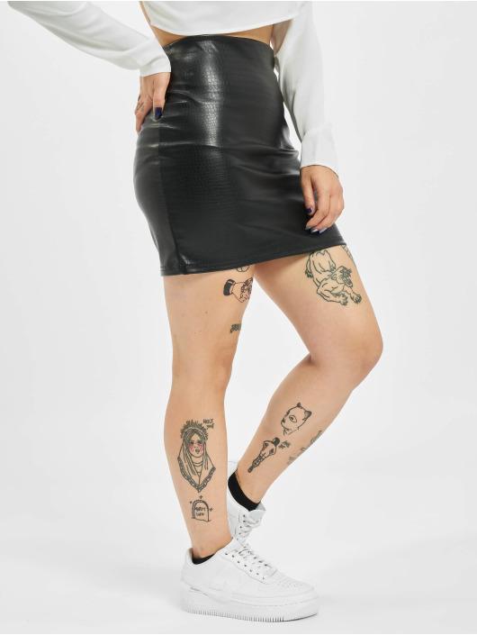 Missguided Skjørt Croc Faux Leather svart