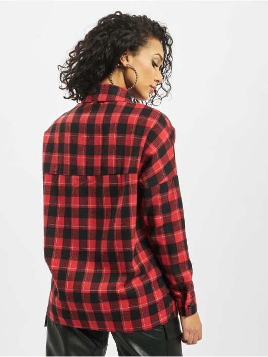 Missguided Skjorte Oversized Brushed Check rød