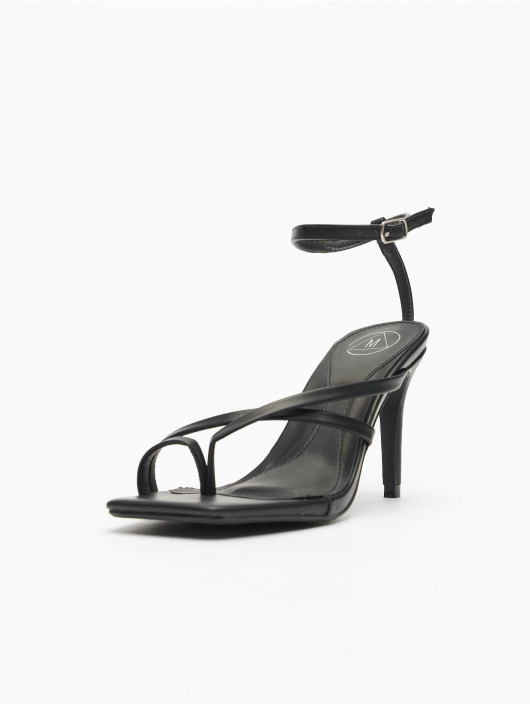 Missguided Slipper/Sandaal Cross Toe Post Low Heel zwart