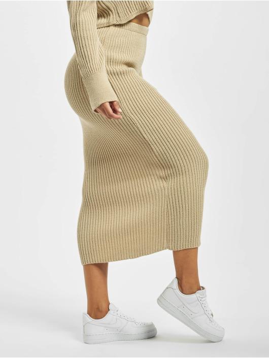 Missguided Spódniczki Knitted Midaxi Co Ord bezowy
