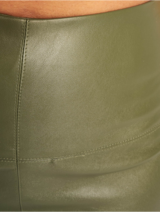 Missguided Spódniczki Faux Leather oliwkowy
