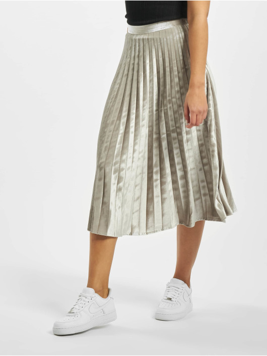Missguided Spódniczki Tall Velvet Pleated Midi srebrny