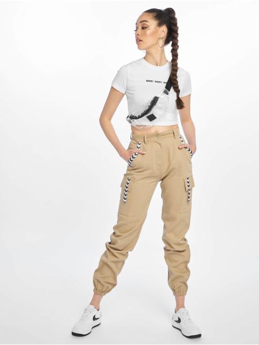 Missguided Spodnie Chino/Cargo Sand Sports Tape bezowy