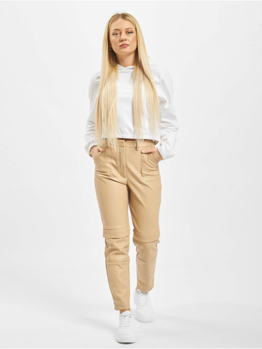 Missguided Spodnie Chino/Cargo Faux Leather Cigarette bezowy