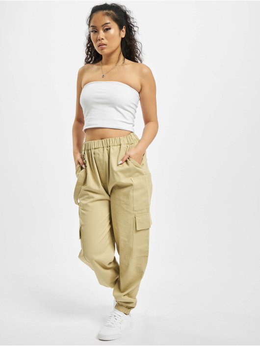 Missguided Spodnie Chino/Cargo Petited Ring Strap bezowy