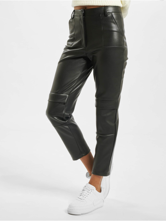 Missguided Spodnie Chino/Cargo Faux Leather Cigarette czarny