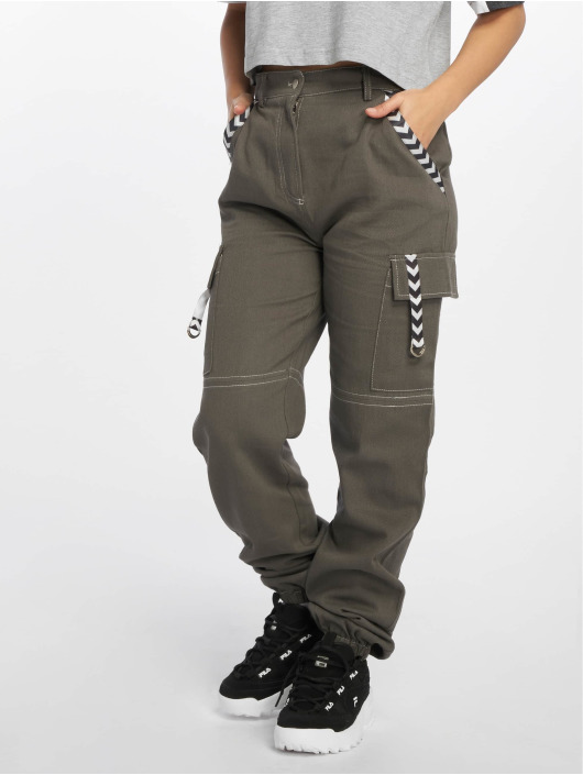 Missguided Spodnie Chino/Cargo Sports Tape szary
