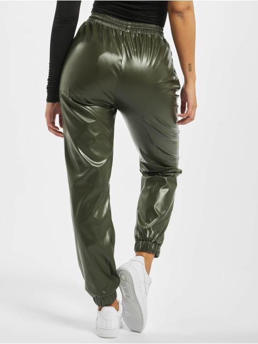 Missguided Spodnie do joggingu Faux Leather khaki