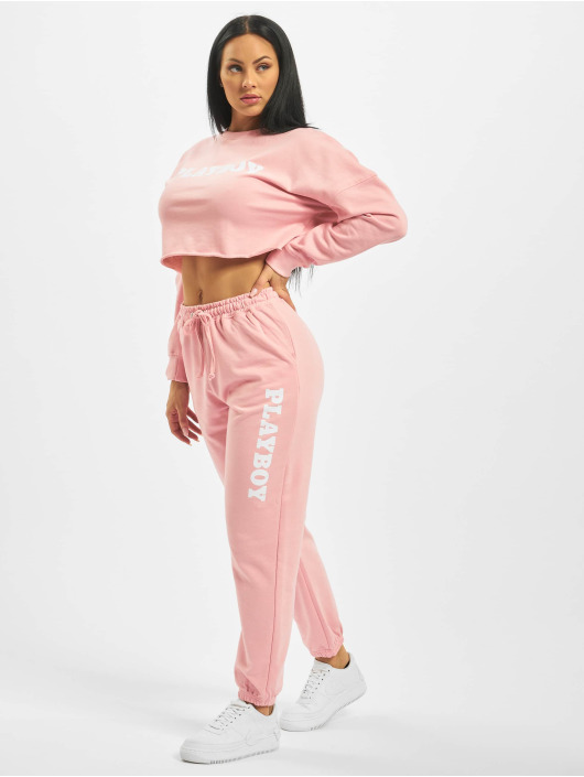Missguided Spodnie do joggingu Playboy Lounge rózowy