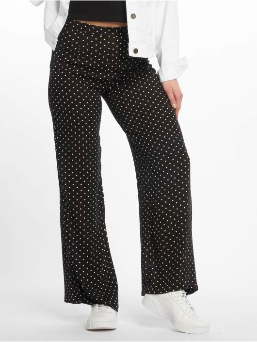 Missguided Spodnie wizytowe Black Cheesecloth Polka Dot Wide Leg czarny