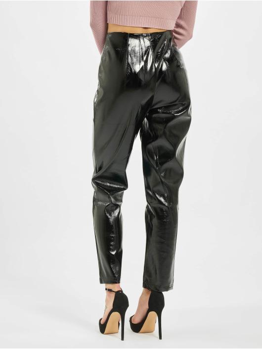 Missguided Spodnie wizytowe Faux Leather High Shine Zip czarny
