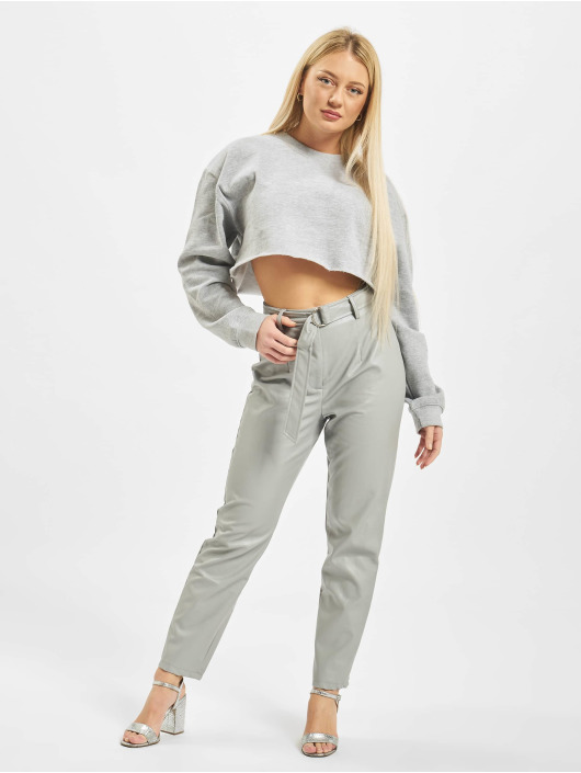 Missguided Spodnie wizytowe Faux Leather Belted Cigarette szary
