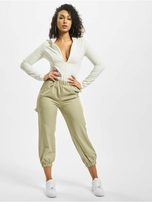 Missguided Spodnie wizytowe Petite Pin Stripe Green Coord zielony