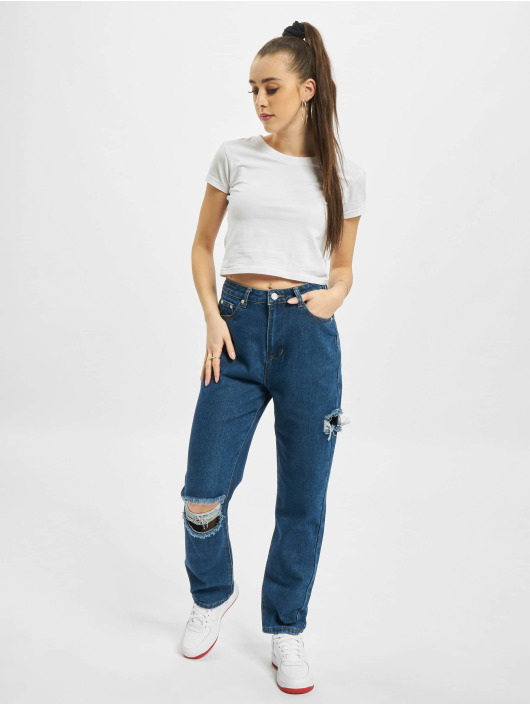 Missguided Straight Fit Jeans Petite Thigh Knee Slit black