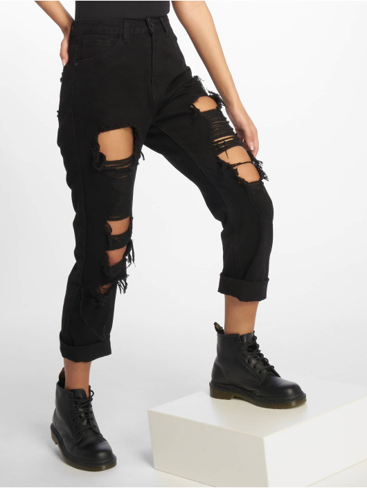 Missguided Straight Fit Jeans Wrath Shredded schwarz