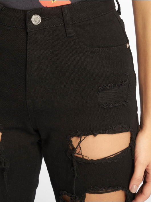 Missguided Straight Fit Jeans Riot High Rise Ripped schwarz
