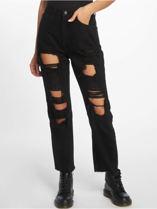 Missguided Straight Fit Jeans Wrath Shredded svart