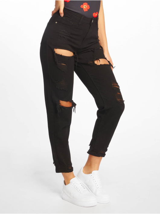 Missguided Straight fit jeans Riot High Rise Ripped zwart