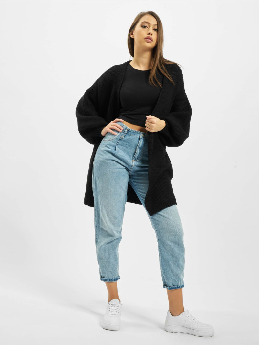 Missguided Strickjacke Ribbed Balloon Sleeve Oversized schwarz