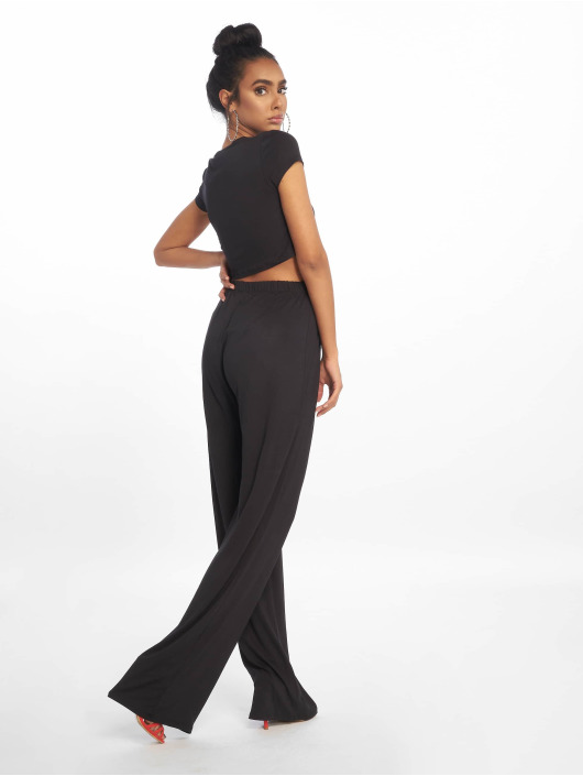 Missguided Suits Crop Top And Wide Leg black