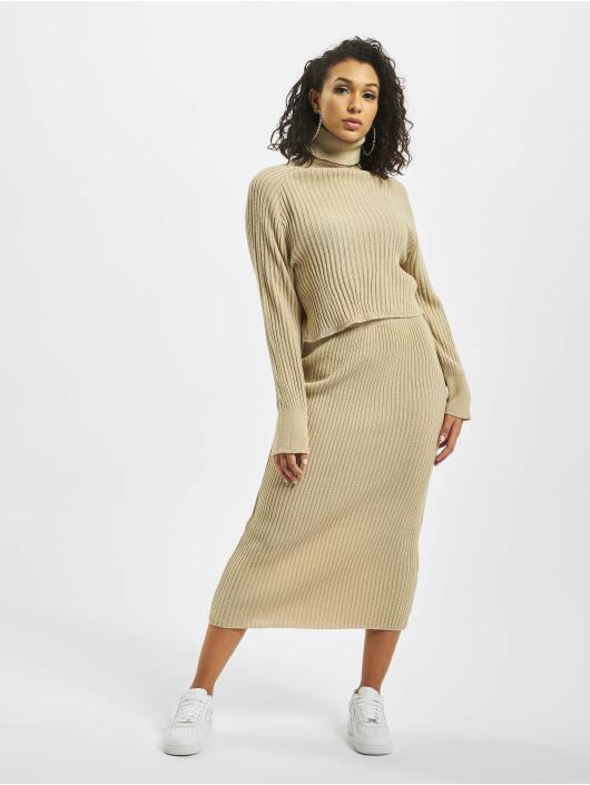 Missguided Sukňe Knitted Midaxi Co Ord béžová